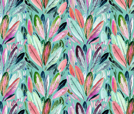 Feather Leaves fabric by crystal_walen on Spoonflower - custom fabric