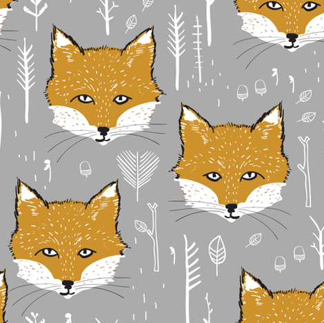 Foxy Forest (mustard/silver) fabric by nouveau_bohemian on Spoonflower - custom fabric