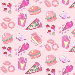 Vegan junk food-pink
