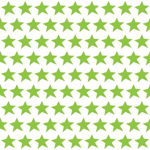 Green Stars on White (half brick repeat)
