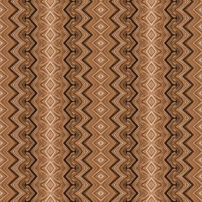 Gingerbread Brown Rickrack Pinstripes
