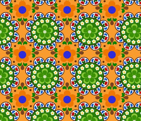 flower_garden_orange fabric by 257 on Spoonflower - custom fabric