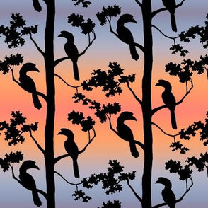 hornbills at sunrise, small scale
