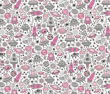 Space Galaxy Universe Doodle with Aliens, Rockets, Planets, Robots & Stars Pink On White fabric by caja_design on Spoonflower - custom fabric