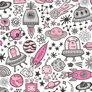 Space Galaxy Universe Doodle with Aliens, Rockets, Planets, Robots & Stars Pink On White