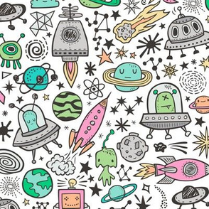 Space Galaxy Universe Doodle with Aliens, Pink Rockets, Mint Planets, Robots & Stars on White