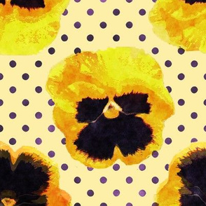 Yellow and Purple Pansies with Dots