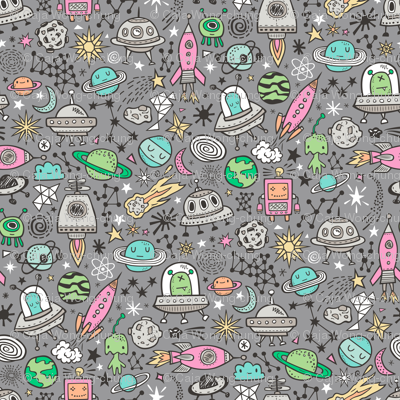Space Galaxy Universe Doodle with Aliens, Pink Rockets, Mint Planets, Robots & Stars on Dark Grey