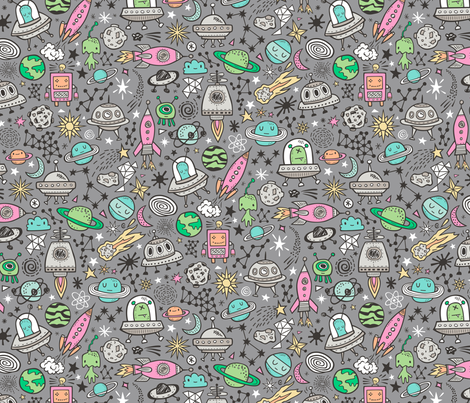 Space Galaxy Universe Doodle with Aliens, Pink Rockets, Mint Planets, Robots & Stars on Dark Grey fabric by caja_design on Spoonflower - custom fabric
