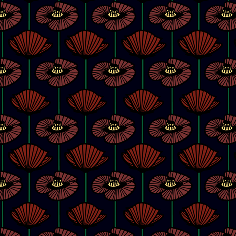 Midnight poppy fabric by sarah_twist on Spoonflower - custom fabric