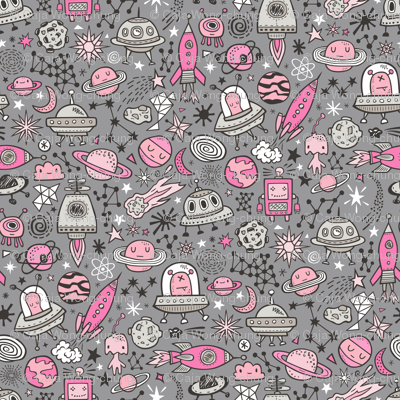 Space Galaxy Universe Doodle with Aliens, Rockets, Planets, Robots & Stars Pink on  Dark Grey