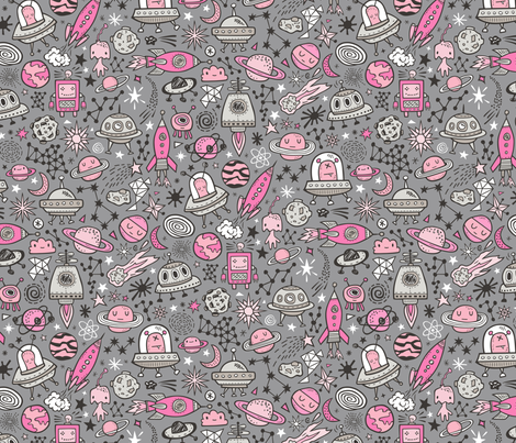 Space Galaxy Universe Doodle with Aliens, Rockets, Planets, Robots & Stars Pink on  Dark Grey fabric by caja_design on Spoonflower - custom fabric