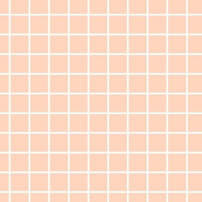 Square Grid - Coral White