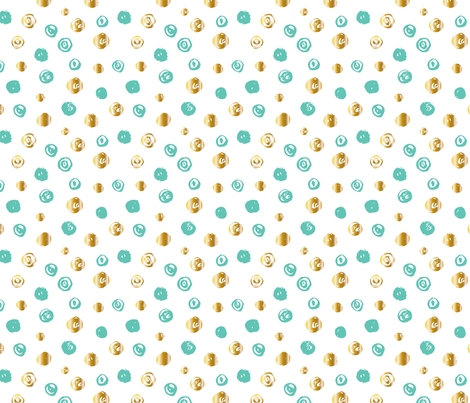 Hand painted mint gold dots fabric by graphicsdish on Spoonflower - custom fabric