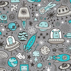 Space Galaxy Universe Doodle with Aliens, Rockets, Planets, Robots & Stars Blue on  Dark Grey