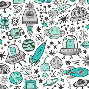 Space Galaxy Universe Doodle with Aliens, Rockets, Planets, Robots & Stars Mint Green on White