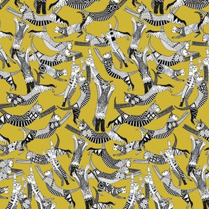 cat party ochre yellow tiny