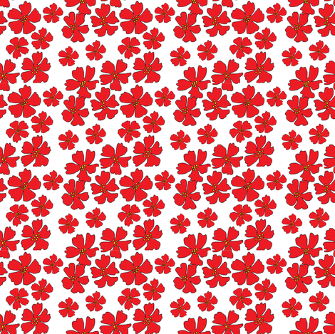 Red flowers on white background fabric by palusalu on Spoonflower - custom fabric