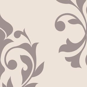 Heart Damask Pattern Taupe on Cream