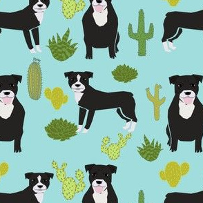 black pitbull fabric dogs and cactus design cute pitty fabric - blue tint