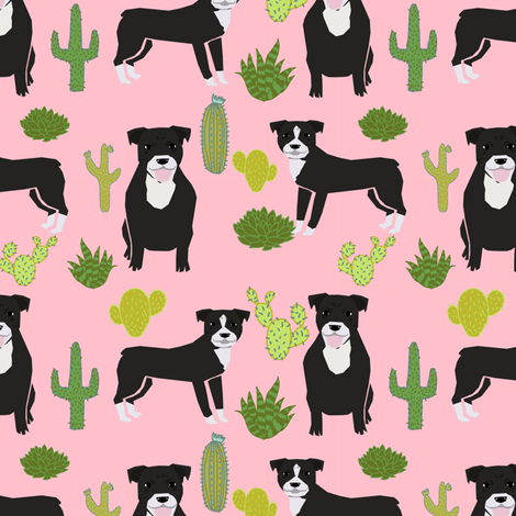 black pitbull fabric dogs and cactus design cute pitty fabric - pink fabric by petfriendly on Spoonflower - custom fabric