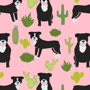 black pitbull fabric dogs and cactus design cute pitty fabric - pink