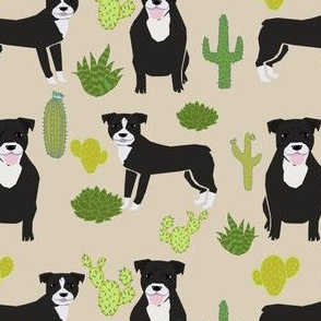 black pitbull fabric dogs and cactus design cute pitty fabric - sand