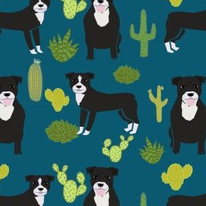 black pitbull fabric dogs and cactus design cute pitty fabric - sapphire blue