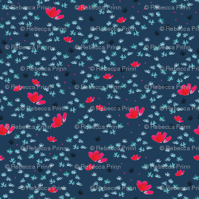 Ditsy floral on navy