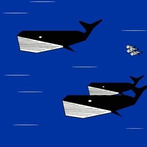 Whales - cobalt blue geometric whales