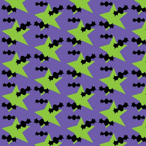 Bats and Stars on Purple