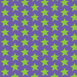Green Star on Purple (Half Drop Repeat)