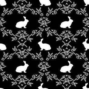 Rabbit silhouette bunny floral black and white