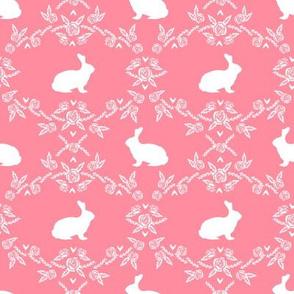Rabbit silhouette bunny floral flamingo