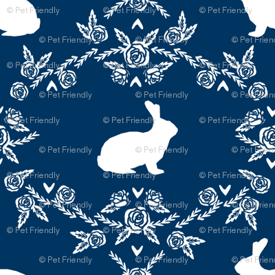 Rabbit silhouette bunny floral navy