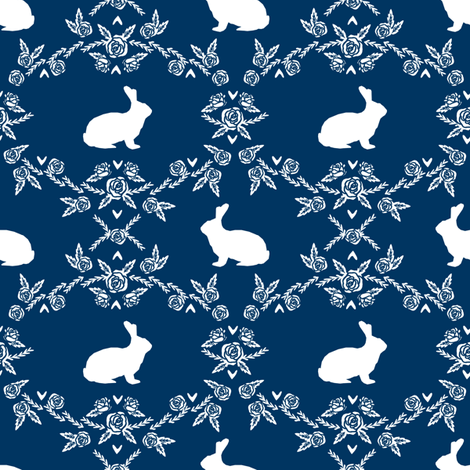 Rabbit silhouette bunny floral navy fabric by petfriendly on Spoonflower - custom fabric