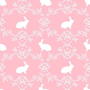 Rabbit silhouette bunny floral pink