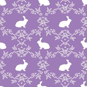 Rabbit silhouette bunny floral purple