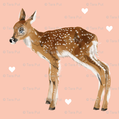 Lovely Fawn on Pink + Hearts