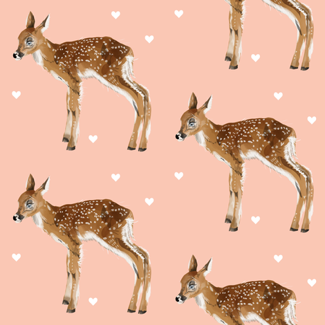 Lovely Fawn on Pink + Hearts fabric by taraput on Spoonflower - custom fabric