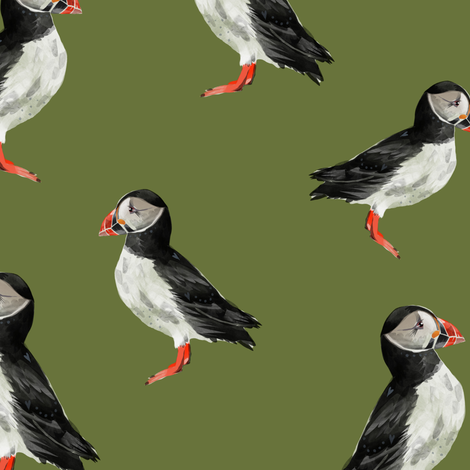 Puffin Party - Olive Green fabric by taraput on Spoonflower - custom fabric