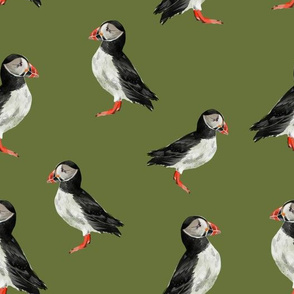 Puffin Party - Olive Green