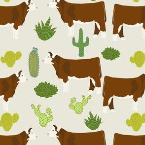 hereford cow fabric cattle and cactus design - light khaki