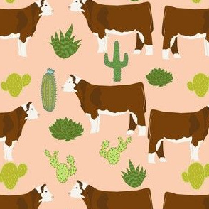 hereford cow fabric cattle and cactus design - peach