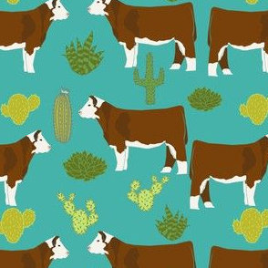 hereford cow fabric cattle and cactus design - turquoise