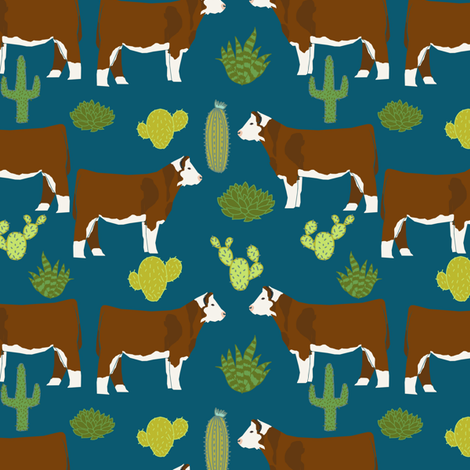 hereford cow fabric cattle and cactus design - sapphire fabric by petfriendly on Spoonflower - custom fabric