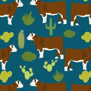 hereford cow fabric cattle and cactus design - sapphire