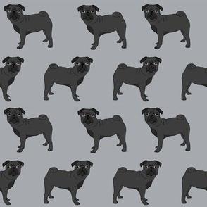 pug fabric black pug dog design grey