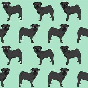 pug fabric black pug dog design mint