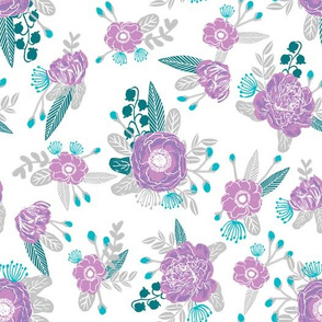 purple florals fabric